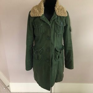Green Military Utility Coat With Sherpa Coat